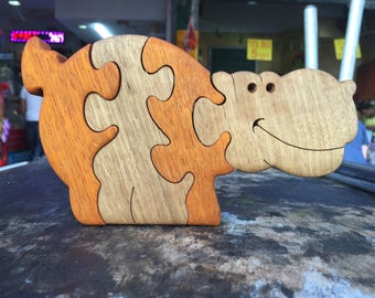 Wooden toy, wood toy, wooden puzzle toy, kids gift, Hippo puzzle, wooden Hippopotamus puzzle, handmade, jigsaw puzzle, wooden animal puzzle.