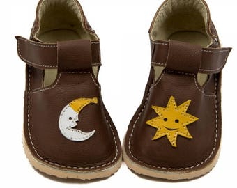 Brown Toddler Leather Shoes,sun&moon,leather lining,Vibram sole,velcro fastening, support barefoot walking,sizes EU 16 to 24 - US 2 to 7.5