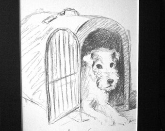 SALE TERRIER DOG Vintage mounted 1939 Lucy Dawson Asta Skippy fox terrier dog plate print Unique gift Christmas, birthday, Thanksgiving pres