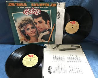 "Vintage, Grease - ""Original Soundtrack"", Vinyl 2 LP Set, Record Album, Rock, John Travolta, Olivia Newton John, Frankie Avalon, Sandy"