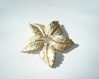 Gold Leaf Brooch Pin - Flower -  Vintage Costume Jewelry 1960s