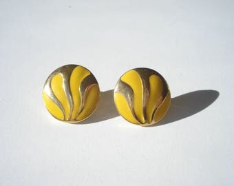 Vintage Yellow and Gold Button Earrings - Pierced Round Fashion Jewelry - 1960s