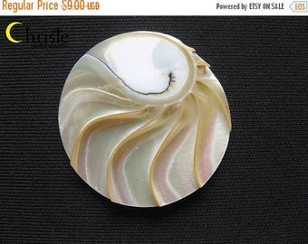 SALE Nautilus Shell round cabochon pendant 40mm IB (A)