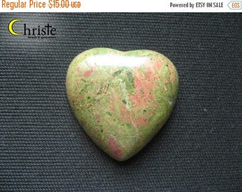 SALE Unakite Natural Green Red heart stone cabochon 28x30x6mm (C)
