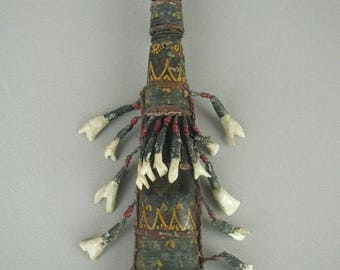 Vintage - Antique African Ceremonial Rattle, Cleansing Holder for Herbs, With Animal Teeth, Tiny Red Beads, Hand Painted