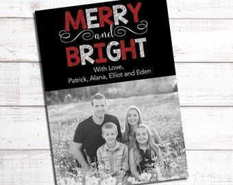 Red and Black Christmas Card Printable Holiday Greeting with Photo