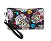 Women's Wristlet Wallet, Padded Phone Clutch, Skull Phone Pouch, iPhone 8 Plus Wristlet, Galaxy S8 Purse - black sugar skulls and flowers