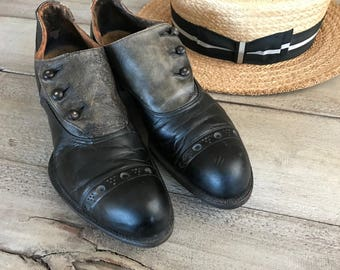 Edwardian Leather Spats Shoes, Button Up, Two Tone Gray Black