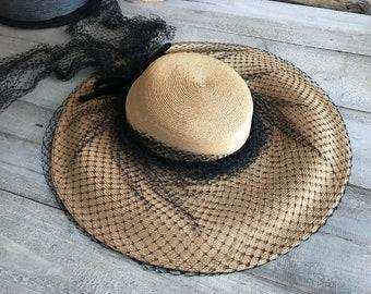 1940s Straw Hat, Black Netting, Velvet Ribbon, Dramatic, Old Hollywood