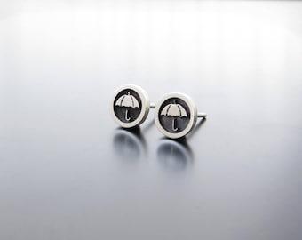 silver earrings studs, umbrella earring posts, umbrella studs, ear studs, solid silver earrings, Round Circle Studs, Umbrella Earrings