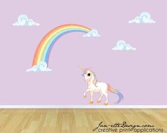 Pastel Rainbow and Unicorn Wall Decal, Rainbow Unicorn Wall Sticker, Rainbow Wall Art,Girls Wall Stickers
