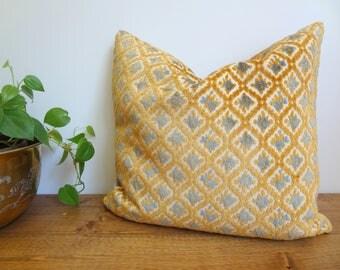 Vintage Velvet Brocade Gold & Slate Blue Throw Pillow/Cushion