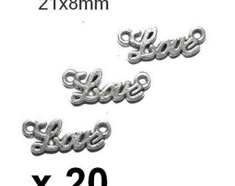 20 connectors love silver 21x8mm