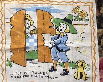 1950s Vintage NURSERY RHYME  Child's Handkerchief TOM Tucker Printed Cotton Hankie Vintage Hankie Nursery Rhyme Hankie Cotton Hankie