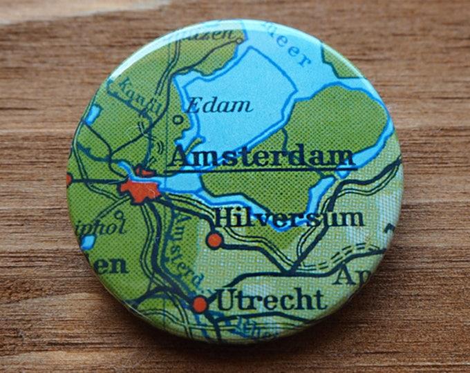 Pinback Button, AMSTERDAM, USA, Ø 1.5 Inch Badge, Atlas, Travel, vintage, fun, typography, whimsical