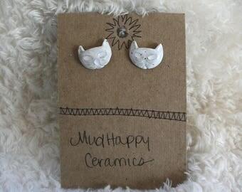 Kitty Cat Earrings, Ceramic Studs, White Cat Earrings