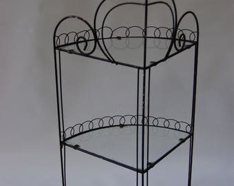 vintage wire corner shelf 3 tier corner shelf glass twisted iron vintage bric a