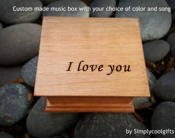 music box, wooden music box, custom music box, I love you, personalized music box, music box shop, love you, anniversary gift, holiday gift
