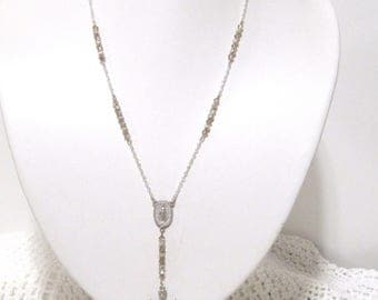 Rosary Necklace, Champagne crystals, Silver Chain, Cross, Virgin Mary, Made for a angel, 20 to 22 inches, Elegant Necklace