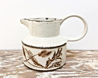 English Enameled Stoneware Creamer, Harvest Wheat Pattern Mini Pitcher