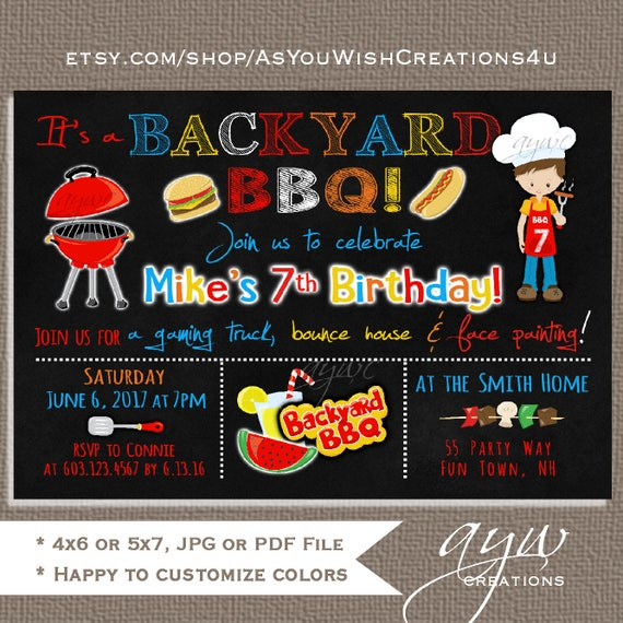 backyard bbq birthday party invitation boy birthday invitation bbq