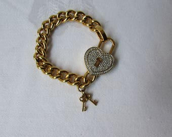 Juicy Couture Bracelet Pave' heart two locks goldtone chain
