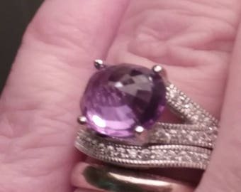Color Change Stone, Alexandrite Ring. Engagement Ring Set, Alexandrite Engagement Ring Set