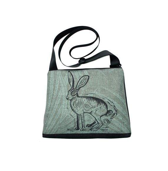 Jackrabbit, block print, blue-green pattern, vegan, vegan leather, large, cross body bag