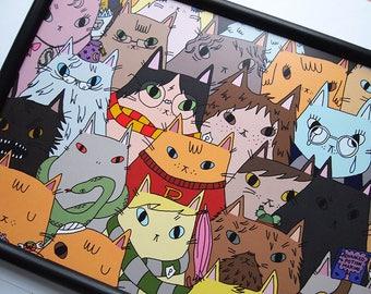 Harry Potter Cats print - Harry Potter Fan Art - I like Cats - Harry Potter - Cats - Harry Potter Cats - Harry potter Illustration - Cat
