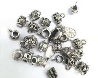 25pc mix style antique silver finish metal connector/bails-9771