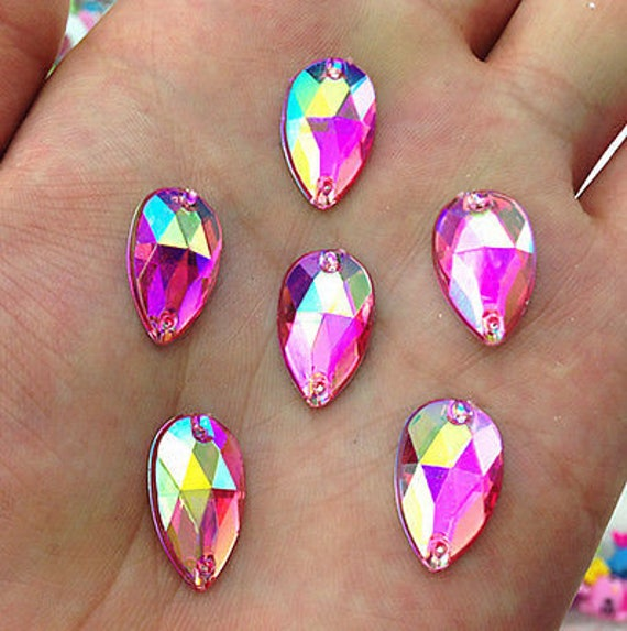 50pcs Rose Pink AB 18mm*11mm Flat Back Tear Drop Sew On Acrylic Rhinestones Embellishment Gems C12