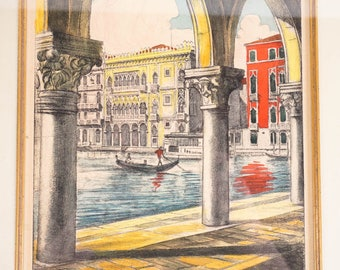 Venice Etching by Bela Skiklay, hand colored and framed