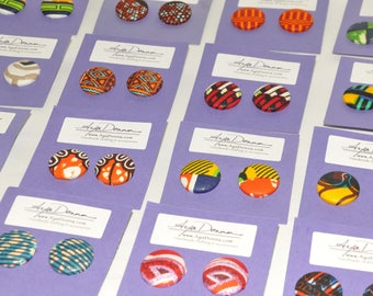 African Print Button Earrings