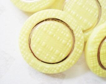 Vintage Buttons - Fancy Yellow Czech Glass Buttons - 4 Vintage Yellow and Gold Glass Buttons - Gold Accented Glass Buttons