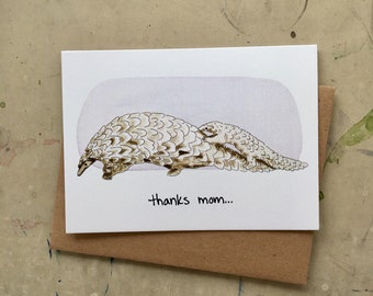 Mother's Day Pangolin Greeting Card