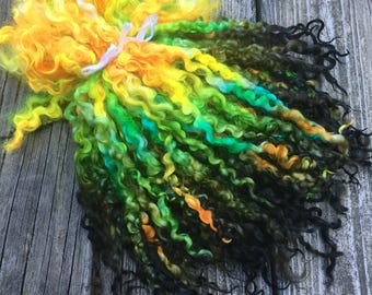 Teeswater Locks, Extra Long, Dyed, Wool, Tailspinning, 1 ounce, Doll Hair, Spin, Felt, Fleece, Electric Eel