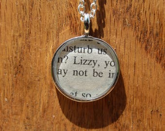 Lizzy - Pride and Prejudice Book Page Pendant Necklace - Jane Austen