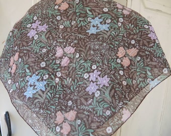 Vintage 1970s sheer poly cotton scarf floral flowers  20 x 20 inches