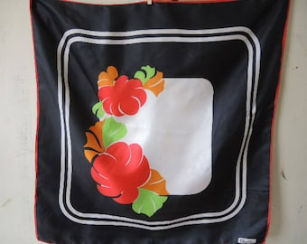 Vintage 1970s Paoli acetate scarf abstract floral  26.5 x 27 inches