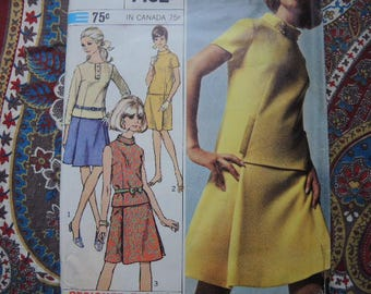 Vintage 1960s Simplicity sewing pattern 7192 misses two piece dress...designer fashion  size 14