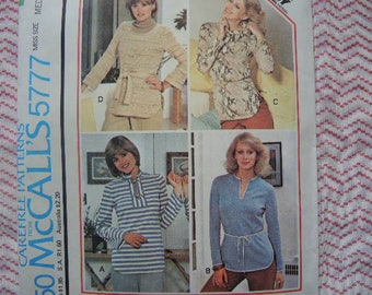 vintage 1970s McCalls sewing pattern 5777 set of tops for stretch knits only size medium
