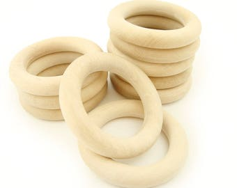 SALE Set of 10 pc. Organic 80mm Wooden Teething Rings with Natural Imperfections