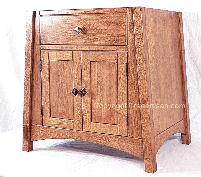 Amish Style Kitchen Cabinets: Amish Mccoy Vanity Bathroom Sink Cabinet Quarter Sawn Mission