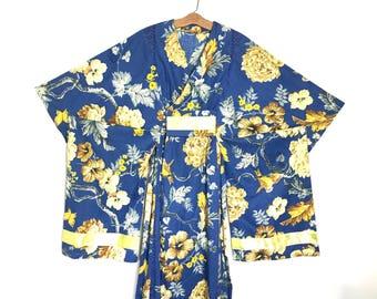 Vintage KIMONO Japanese Floral Kimono Robe with Wide Sleeve Robe Cotton R