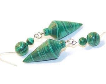Malachite Earrings, Pendulum Earrings, Long Green Earrings