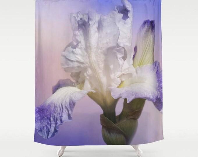 White Bearded Iris Shower Curtain, Bath Curtain, Floral Shower Curtain, Flower Photography, Garden Photography, Bathroom Decor