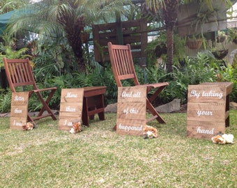 Aisle signs, wedding signs, rustic wedding sign,  better than I was more than I am & all of this happened by taking your hand.