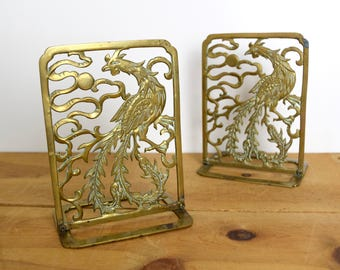 Vintage brass bookends…Asian brass pheasant bookends…pheasant bookends.