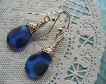 Sapphire Blue Earring, Wire Wrapped Earring, Blue Peacock Earring, Drop Earrings, Blue Jewelry, Wire Wrapped Jewelry, Dangle, Blue Earring