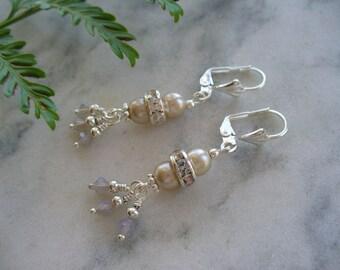 Gray Pearl Earrings, Swarovski Crystal Earrings, Wedding Gift, Gray Pearl Earring, Bridesmaid Gift, Womens Jewelry, Gift for Her